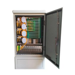 144 Fibers FTTH Splitter Cabinet with 18pcs of 1×8 Plastic Box PLC Splitter